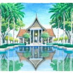 Culturally inspired restaurant in reflective  harmony with the serenity of the formal main swimming pool setting